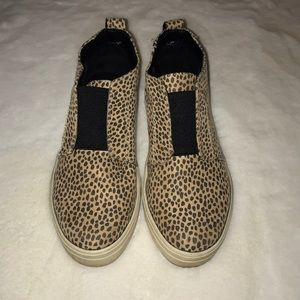 Speckled leopard high top slip ons